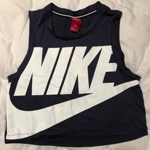 Nike Crop Workout Muscle Tank Size M Navy/White